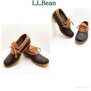 {L.L. Bean} Brown/Tan Leather & Rubber Moc Boots